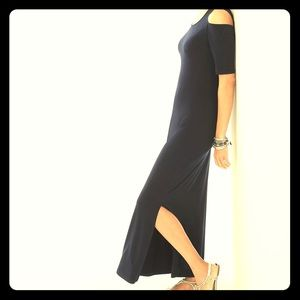 CHICO'S Black Cold Shoulder Maxi Dress